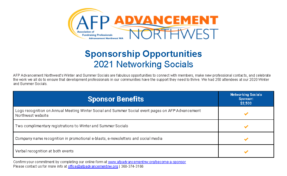 Sponorship Opportunities - 2021 Networking Socials